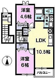 愛知県清須市西市場4丁目の賃貸アパートの間取り