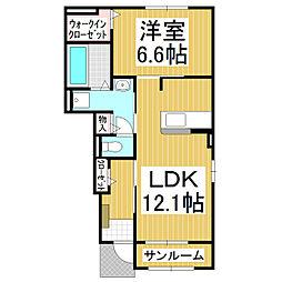JR小海線 美里駅 徒歩10分の賃貸アパート 1階1LDKの間取り