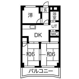 宝八事ハイツ[6階]の間取り