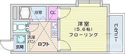 アップルハウス八木山弥生町 1階1Kの間取り