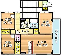福岡県北九州市小倉北区上到津4丁目の賃貸アパートの間取り