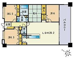 アクロス空港イーストステージ[406号室]の間取り
