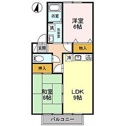 アモールKAZAMA[102号室]の間取り
