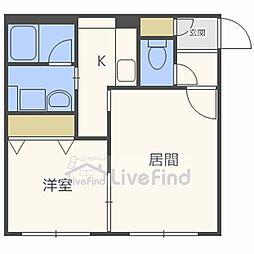 札幌市営南北線 平岸駅 徒歩9分の賃貸マンション 4階1LDKの間取り