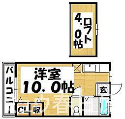 福岡県春日市日の出町4丁目の賃貸アパートの間取り