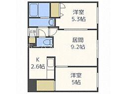 北海道札幌市豊平区平岸五条12丁目の賃貸アパートの間取り