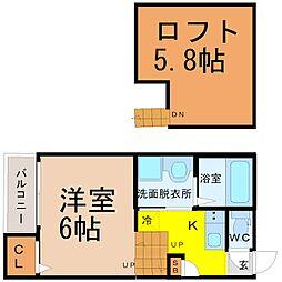 愛知県名古屋市中村区高道町1丁目の賃貸アパートの間取り