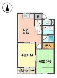 愛知県長久手市蟹原の賃貸アパートの間取り
