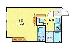 JR山手線 五反田駅 徒歩7分の賃貸マンション 3階ワンルームの間取り
