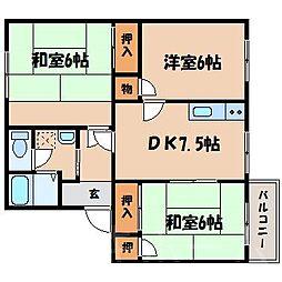 広島県広島市安芸区中野東3丁目の賃貸アパートの間取り