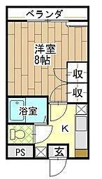 長野県飯田市伝馬町1丁目の賃貸アパートの間取り