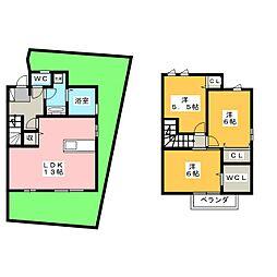 [テラスハウス] 岡山県岡山市北区田中 の賃貸【/】の間取り