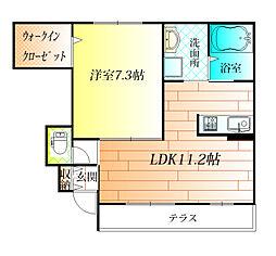大阪府羽曳野市誉田1丁目の賃貸アパートの間取り