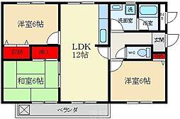 グランドヒル 1階3LDKの間取り