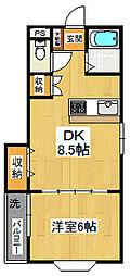 三建ハイツ西船[202号室]の間取り