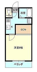 JR山形新幹線 山形駅 バス18分 桜田西下車 徒歩4分の賃貸アパート 3階1Kの間取り
