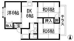 坂西レジデンス1B[1階]の間取り