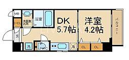 エステムコート京都東寺 朱雀邸 6階1DKの間取り