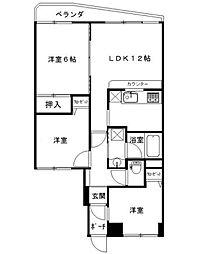 神奈川県横浜市保土ケ谷区仏向西の賃貸マンションの間取り