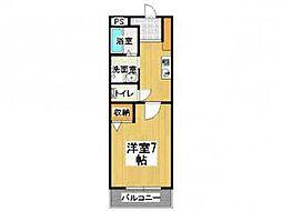 セントラルパークサイドマンション 3階1Kの間取り