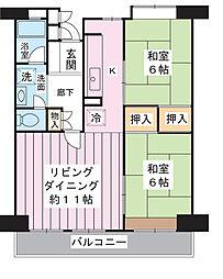 美浜東エステート11号棟[5階]の間取り
