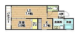 福岡県北九州市八幡西区黒崎4丁目の賃貸マンションの間取り