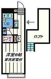 千葉県松戸市三矢小台5丁目の賃貸アパートの間取り