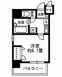 東京メトロ銀座線 京橋駅 徒歩6分の賃貸マンション 10階1Kの間取り