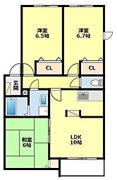 愛知県みよし市三好丘あおば1丁目の賃貸アパートの間取り