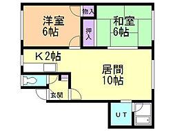 條野ハイツE 2階2LDKの間取り