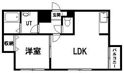 ラ・ヴェールN9 1階1LDKの間取り