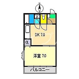 モーメント福井[2階]の間取り