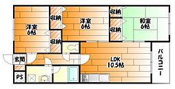 広島県広島市安佐南区山本9丁目の賃貸マンションの間取り