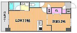 JR宇野線 備前西市駅 徒歩6分の賃貸マンション 6階1LDKの間取り