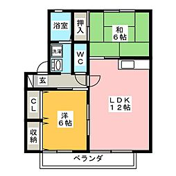 リバーヒルズ杁鹿下[2階]の間取り
