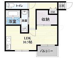 京阪本線 枚方市駅 バス9分 香里橋下車 徒歩3分の賃貸アパート 3階1Kの間取り