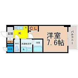 愛知県名古屋市東区葵1の賃貸マンションの間取り