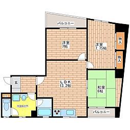 真田山中央マンション[402号室]の間取り