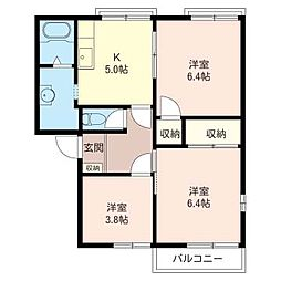 メゾンドネージュ 2号館[2階]の間取り