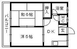 コーポ笠井[202号室]の間取り
