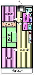 サニーフラット南浦和[3階]の間取り