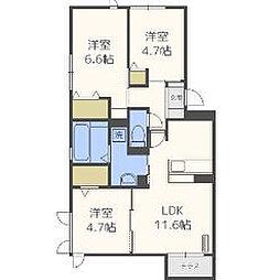 (仮)D-room鳥飼3丁目[1階]の間取り