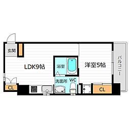 JR大阪環状線 桜ノ宮駅 徒歩5分の賃貸マンション 8階1LDKの間取り