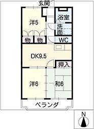 日栄マンションII[1階]の間取り