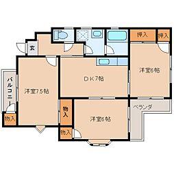 静岡県静岡市清水区西久保1丁目の賃貸マンションの間取り