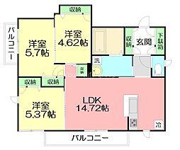 エスプリ ド ルア 2階3LDKの間取り