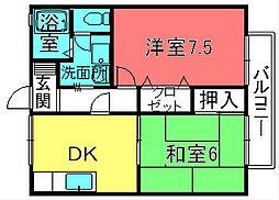 滋賀県栗東市出庭の賃貸アパートの間取り