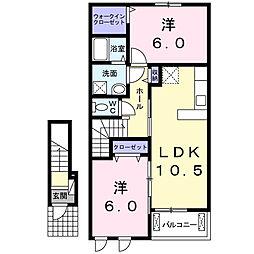 ラ・カーサ・ミーア[2階]の間取り