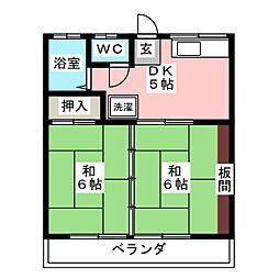 タカノハハイツ2号棟[2階]の間取り