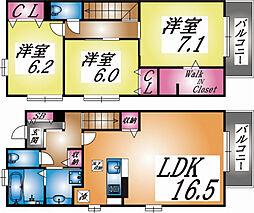 兵庫県神戸市東灘区御影山手3丁目の賃貸アパートの間取り
